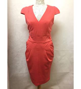 Trendy Next - Size: 12 - coral fitted knee length dress