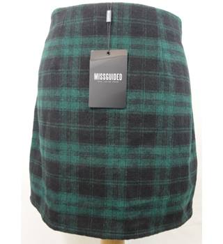 BNWT - Miss Guided - Size: 10 - Black and Green - Checked Mini Skirt