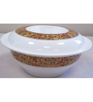 Fine bone china serving dish/lid in red & gold