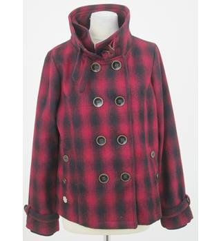 Rip Curl - Size: 12 - Red with black pattern double breasted jacket