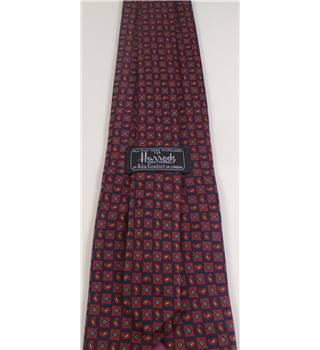 Harrods Classic Red Retro Print Silk Tie