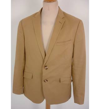 "The Savile Row Co  Size: L, 42"" chest, tailored fit Camel Brown Casual/Stylish Cotton & Elastane Blend Single Breasted Jacket"