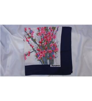 Jacqmar of London white, blue & pink floral print scarf