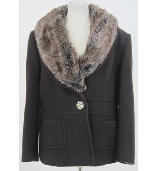 CC - Size: 16 - Brown with Faux Fur Collar Coat