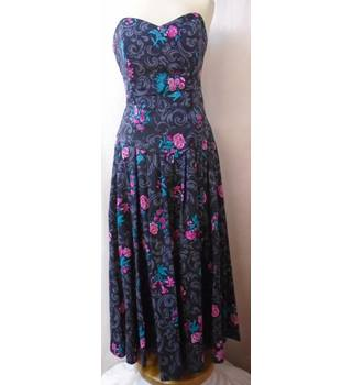 Laura Ashley - Size: 12 - Black - Flowery Floral - Cotton - Strapless dress