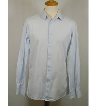"Next - Size: 15.5"" - Shirt - Light blue and White Stripe"