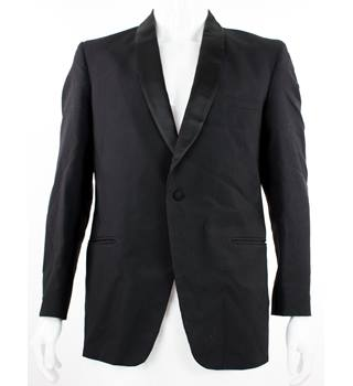 "VINTAGE Hardy Amies by Hepworths - Size: 40"" - Black - Wool & Mohair Single Breasted Dinner Jacket"