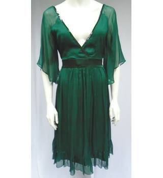 BNWT Almost Famous - Green Silk Dress - Size 14