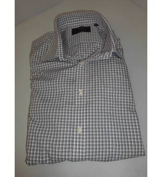 "M&S Collection Size 17.5"" Collar Grey and White Cotton Blended Shirt"