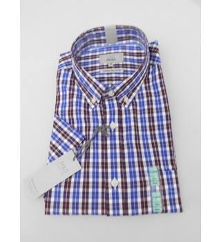 "M&S  Collection Size  44-46"" Chest Blue Brown and White Checked Shirt"