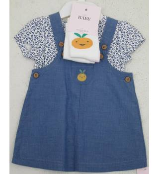 NWOT M&S - Age: 6- 9 months - Blue Dress with Blue floral top to match