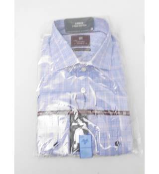 "M&S Collection Size 17"" Collar Blue White and Red Checked Cotton Shirt"