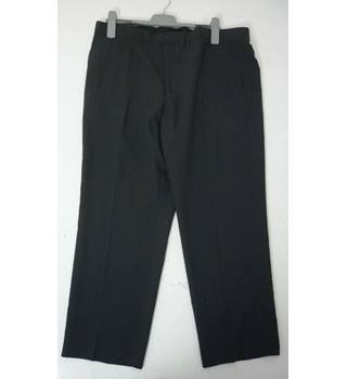 "M & S Size: XL, 40"" waist, 29"" inside leg, regular fit Charcoal Grey Smart/Stylish Polyester Flat Front Trousers"