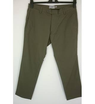 "M & S Size: M, 34"" waist, 27"" inside leg, super slim fit Khaki Grey  Casual Cotton With Stretch Flat Front Chinos"