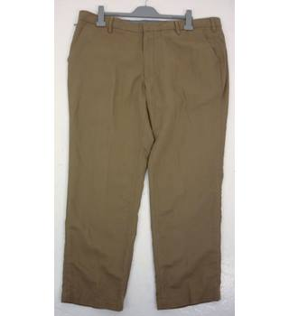 "M & S Size: XL, 42"" waist, 29"" inside leg, tailored fit Putty Grey Casual Premium Cotton & Linen Blend Flat Front Chinos"