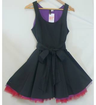 H&M - Size: 12 - Black red and purple - Ladies' Mini Skater-style Dress