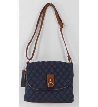 Marks & Spencer Navy Quilted Shoulder Bag with Brown Trim