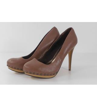 Next Caramel Brown Leather  Stiletto Heeled Court Shoes Size 5