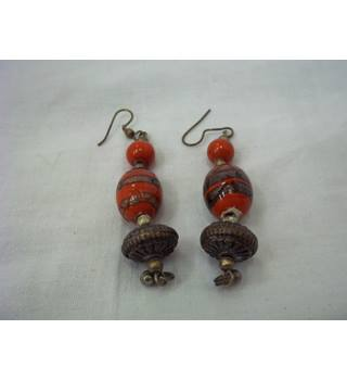 Dark Red & Bronze Bohemian Earrings Unbranded - Size: Small - Red