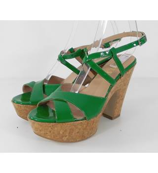 Jones Bootmaker Green Patent Chunky Heeled Sandals - Size: 5.5