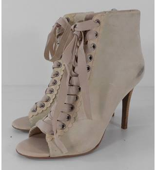 River Island Cream Suede  High Heel, Peep Toe Boots Size: 4