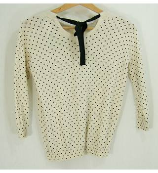 Mango - as new, Size: S - Cream / ivory & black - Fine knit Jumper