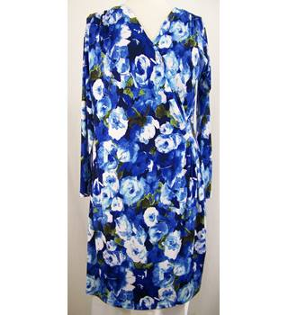 Text - Size: 14 - New, Blue print - Wrap over jersey dress