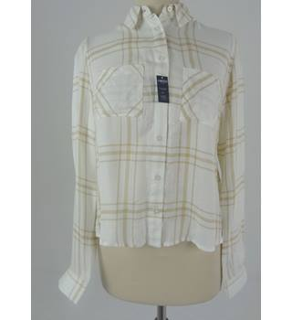M&S Marks & Spencer Size 8 Cream Checked Shirt
