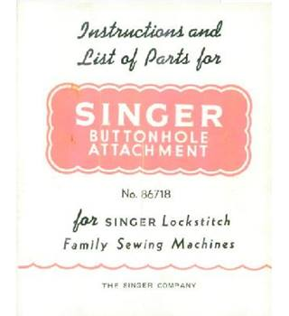 Singer sewing machine buttonhole attachment instructions