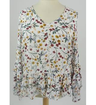 M& S Limited Edition Size 14 White and Floral Folk Inspired Blouse