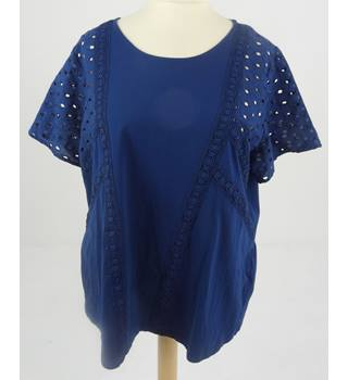 M&S Size 14 Navy Broderie Anglaise Smock Embroidered Top