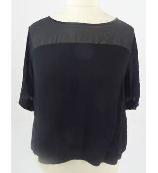 M&S Studio Size UK 18 Midnight Black Sheer Panel Top