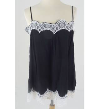 M&S Size 12 Black and White Lace Trim Camisole Top