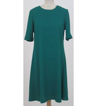 M&S Collection - Size: 10 - Green - A-line Short sleeved Knee length dress