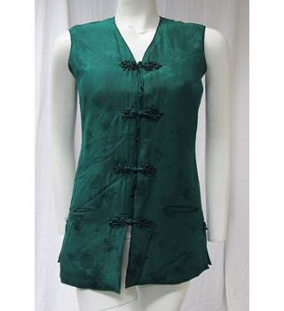 Vintage Chinese style Silk Waistcoat Size S Double Horse - Size: S - Green