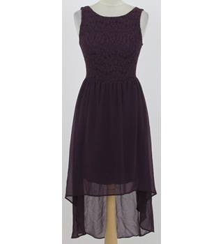 New Look: Size 8: Purple lace top, dipped hem party dress
