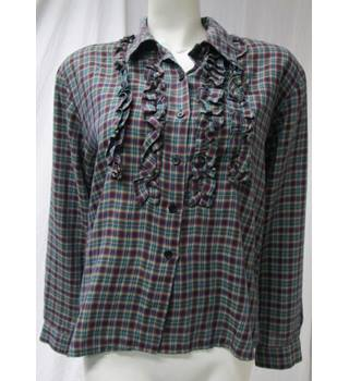 Vintage shirt with frill detail on front Size M Jake - Size: M - Multi-coloured