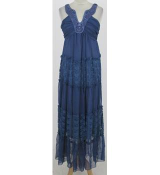 ITRY: Size L/XL:  Blue bead and lace maxi dress