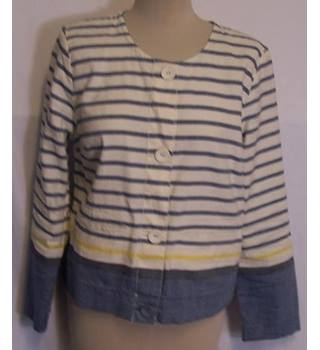 Sea Salt Shirt Size 14 Blue and White Striped Long Sleeved Jacket