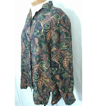 Patra Size 12 Brown & Green Patterned Blouse