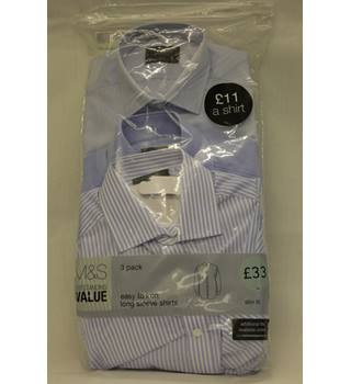 BNWT M&S Set of 3 blue long sleeved shirts - Size: S