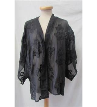 BNWT - Angel Ribbons for Simply Be - Size: 24/26 - Sheer Black with Floral Pattern Kimono