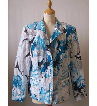 Gray & Osbourn Size L White with Blue and Black Abstract Pattern Smart Jacket