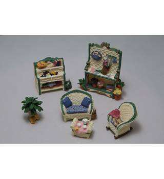 2 Avon Fine Collectibles Miniature Furniture Sets - Patio and Bedroom