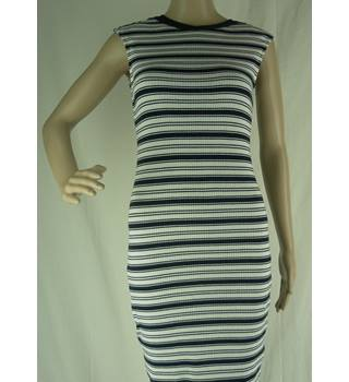 M&S Limited Edition Size: 10 White with Black Striped Sleeveless Dress