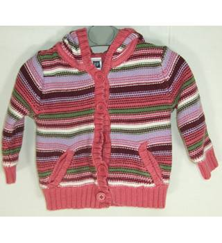 Baby Gap size 6-12 months pink striped hooded cardigan