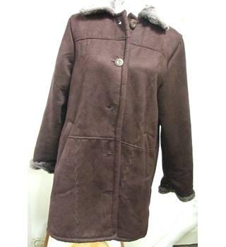 Faux Sheepskin Jacket by Gabriella Vicenza in a rich brown with wave-stitch detailing (size 14)
