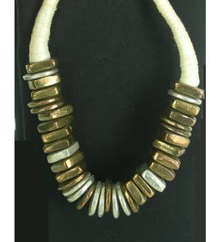 Women's Statement Bronze, Silver and Gold Coloured Choker Necklace