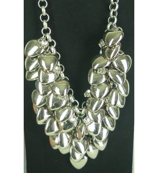 Women's Silver Tone Chunky Statement Necklace - Hearts And Crystals