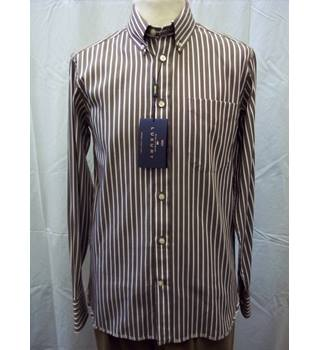 M&S Marks & Spencer - Size: S - Brown - Striped long sleeved shirt